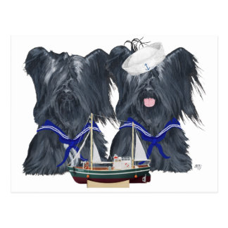 Two Skye Terrier Sailors Post Cards