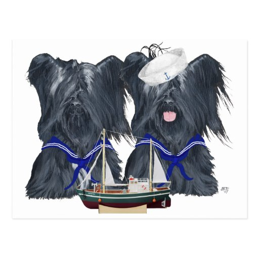 Two Skye Terrier Sailors Post Cards