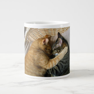 Two Sleeping Tabby Cats Cuddling Giant Coffee Mug