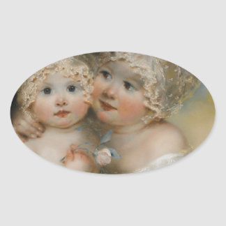 Two small Girls with Bonnets Oval Sticker