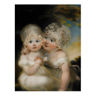 Two small Girls with Bonnets Post Card