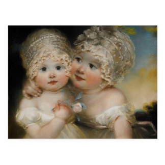 Two small Girls with Bonnets Postcard