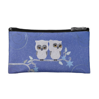 Two small white owls makeup bag