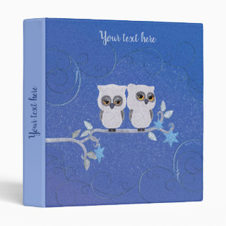 Two small white owls vinyl binders