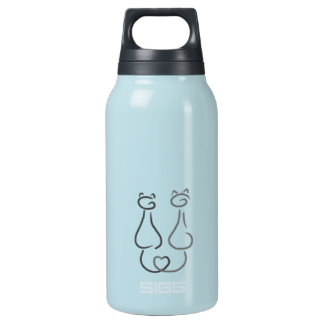 Two smiling cats insulated water bottle