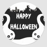 Two smiling ghosts Halloween address label Round Sticker