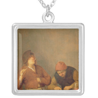 Two Smokers in an Interior, 1643 Silver Plated Necklace