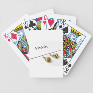 Two snails sliding to finish bicycle playing cards