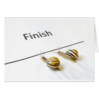Two snails sliding to finish card