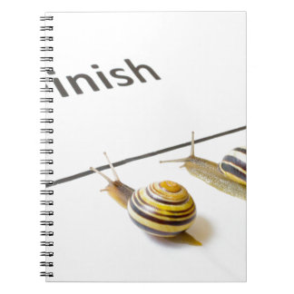 Two snails sliding to finish note book