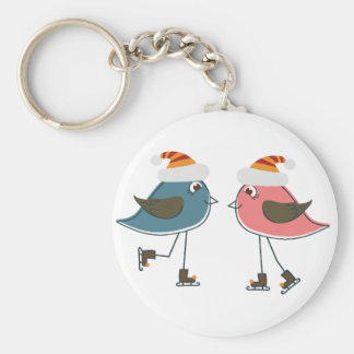 Two Snow Birds Ice Skating Keychain
