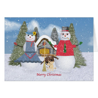 Two Snowmen and a Dog Card
