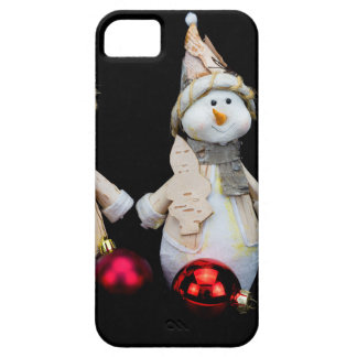 Two snowmen figurines with red baubles on black iPhone 5 case