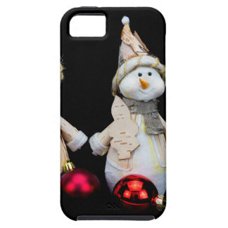 Two snowmen figurines with red baubles on black iPhone 5 cases