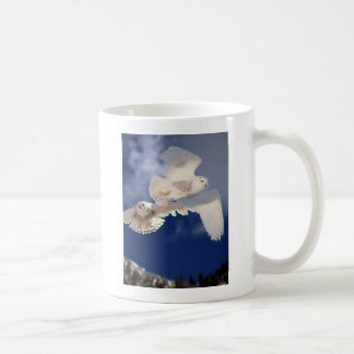 Two Snowy Owls in Flight Coffee Mug