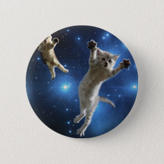 Two Space Cats Floating Around Galaxy 2 Inch Round Button