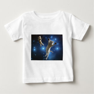 Two Space Cats Floating Around Galaxy Baby T-Shirt