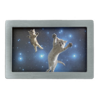Two Space Cats Floating Around Galaxy Belt Buckles