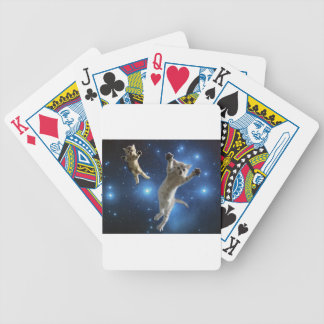 Two Space Cats Floating Around Galaxy Bicycle Playing Cards