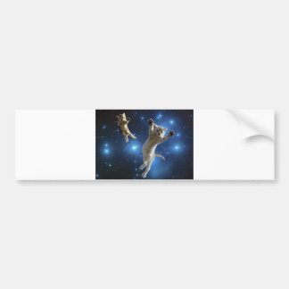 Two Space Cats Floating Around Galaxy Bumper Sticker