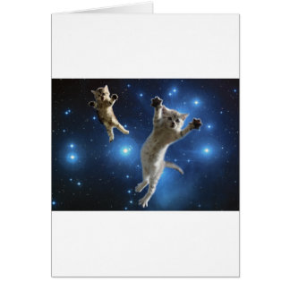 Two Space Cats Floating Around Galaxy Card