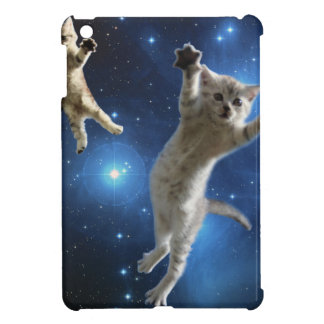 Two Space Cats Floating Around Galaxy Case For The iPad Mini