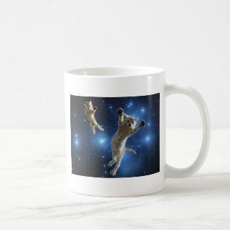 Two Space Cats Floating Around Galaxy Coffee Mug