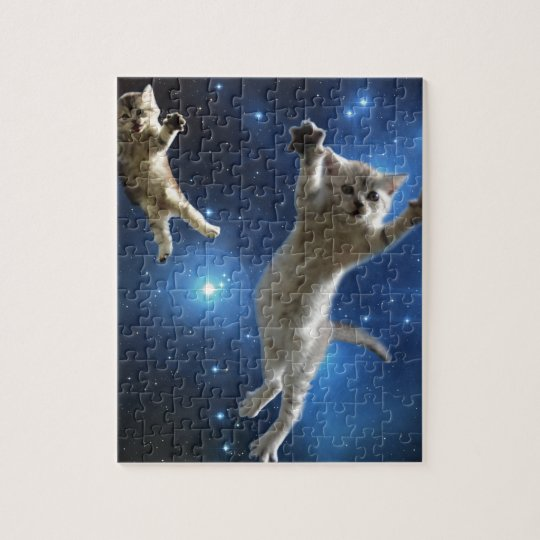 Two Space Cats Floating Around Galaxy Jigsaw Puzzle