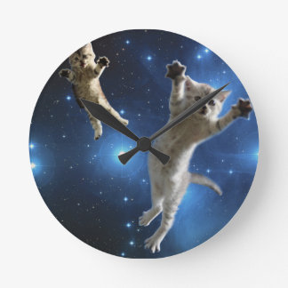 Two Space Cats Floating Around Galaxy Round Clock