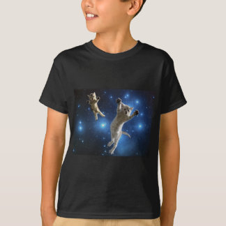 Two Space Cats Floating Around Galaxy T-Shirt