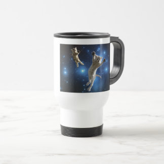 Two Space Cats Floating Around Galaxy Travel Mug