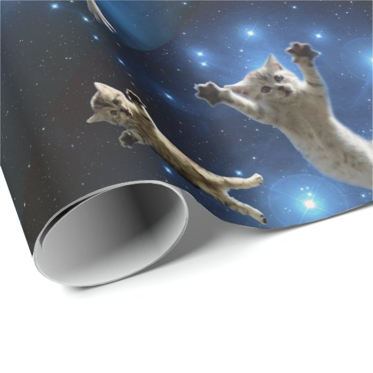 Two Space Cats Floating Around Galaxy Wrapping Paper