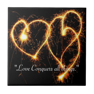 Two Sparkler Hearts Tile