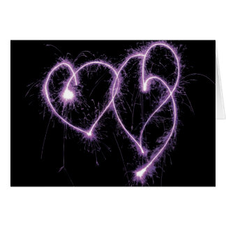 Two Sparkler Hearts Valentine's Day Card