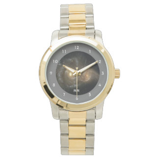 Two Spiral Galaxies Collide Two Tone Personal Watch