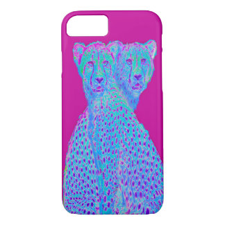 Two spot cheetahs-magenta phone case