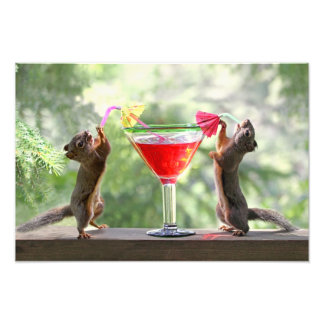 Two Squirrels Drinking a Cocktail Photographic Print