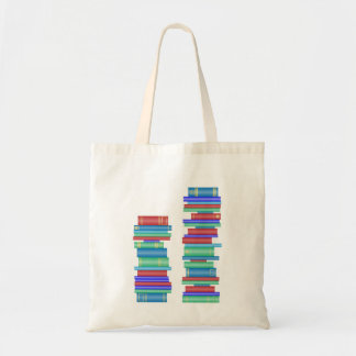 Two stacks of books library bag