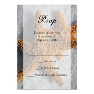 Two Starfish in Sand, Beach Wedding Sm RSVP Reply Card