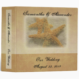 Two Starfish in the Sand, Beach Wedding 3 Ring Binder