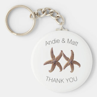 Two Starfish Thank You Key Ring Wedding Favor