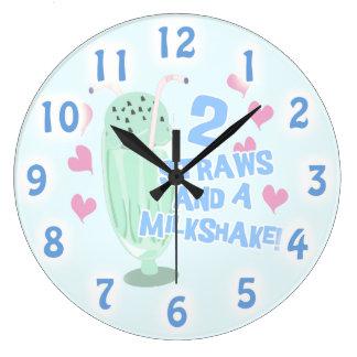 Two Straws and A Milkshake! Round Wallclocks