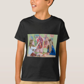 Two students learning model human body in biology. T-Shirt