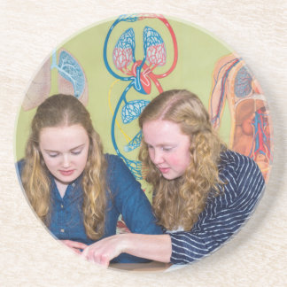 Two students learning with books in biology lesson beverage coaster