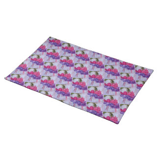 TWO STUNNING RED AND PURPLE FUCHSIA FLORAL PLACEMAT