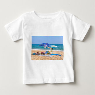 Two sun umbrellas and beach supplies at sea.JPG Baby T-Shirt