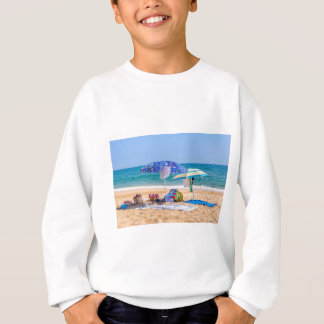 Two sun umbrellas and beach supplies at sea.JPG Sweatshirt