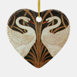 Two Swans by Walter Crane vintage illustration Ceramic Heart Ornament