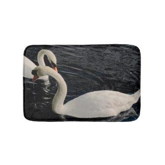 Two Swans on Lake Bath Mat