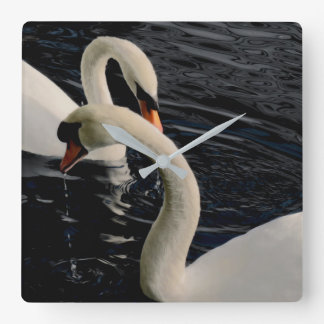 Two Swans on Lake Square Wall Clock